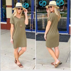 Olive Cuffed Sleeve T-shirt Dress